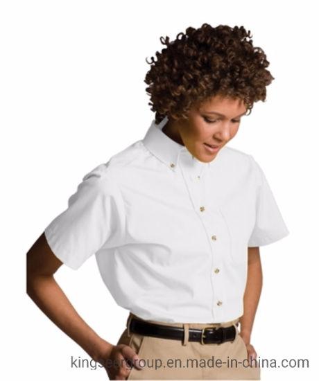 Customized Fashion Workwear Short Sleeve Lady's Shirt W/Pocket Uniforms