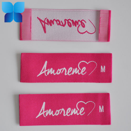 Hot Sell Rose Pink Woven Label for Garment/ Shoes/ Bags