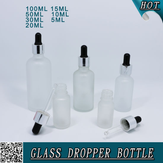 Frosted Glass Cosmetic Serum Dropper Bottle with Child Proof Cap and Pipette pictures & photos