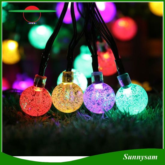 50pcs bubble ball solar powered led christmas string light colorful waterproof light