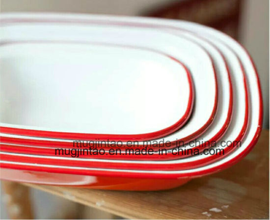 Square Plate/ Enamel Butter Plate/Kitchenware Cookware Baking Tools Pizza Dish pictures & photos