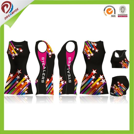 Women Softball Uniform Sublimation Sportswear Printing Custom Netball Jersey pictures & photos