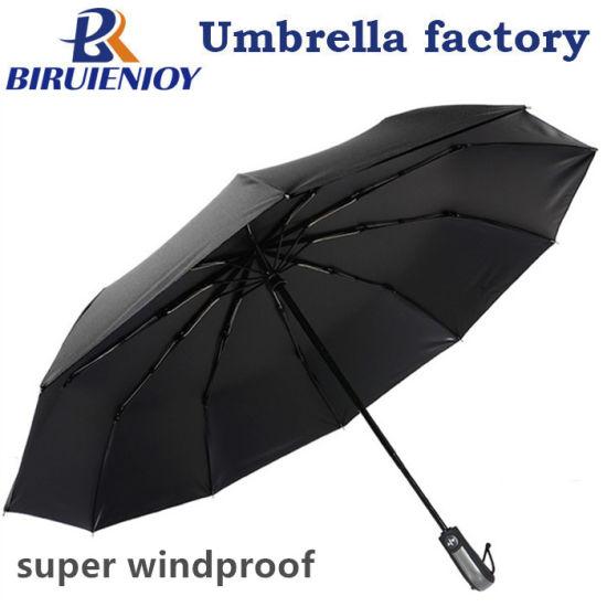 Windproof 10 Ribs Black Pongee Business Travel Rain Umbrella 3 Folding 23 Inch