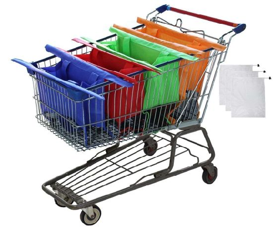 Reusable Shopping Cart Bags and Grocery Organizer Designed for Trolley Carts by Modern Day Living Esg11409 pictures & photos