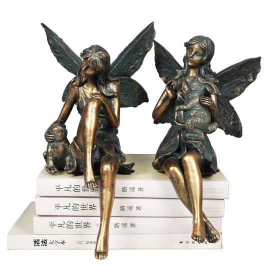 OEM New Arrive Garden Decor 2 Ass Set Fairy Bronze Color Polyresin Angel Figurine with Frog and Rabbit