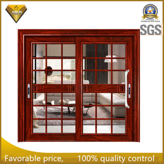 Double Glazing Aluminum Sliding Door Safety Door Design With Grill