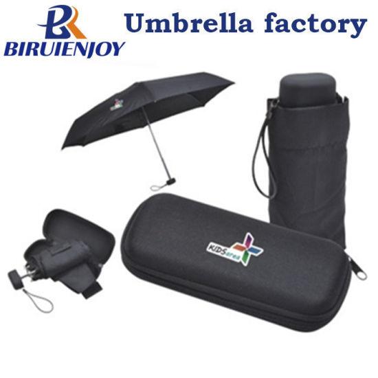 Supermini 5 Folding Promotional Umbrella with Custom Logo Printing on Canopy and EVA Case 19 Inch