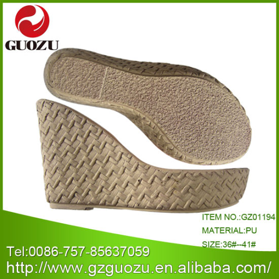Woman PU Sole Wedge Heel for Shoe Making Design