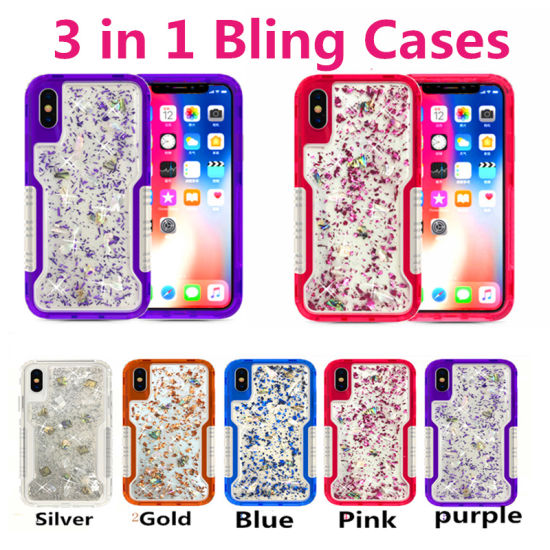 9f11eb062 Luxury Phone Case 2 in 1 Gold Sparkle Glitter Bling Cases for iPhone X 8
