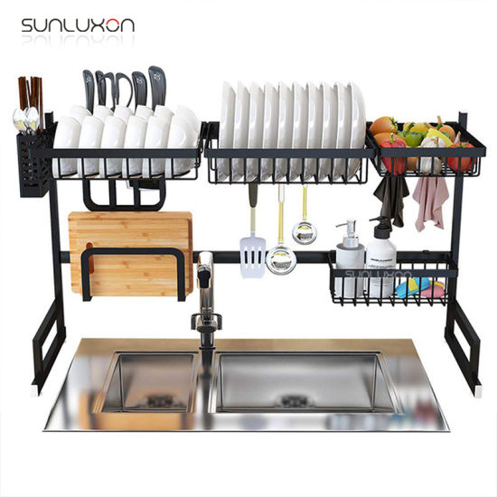 65cm 2 Layer Home Drying Holder Drainer Stand Stainless Steel Kitchen Storage Dish Corner Rack