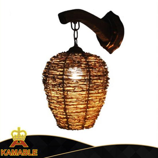 New Design Restaurant Rattan Wooden Wall Light (KAMB-1203W)
