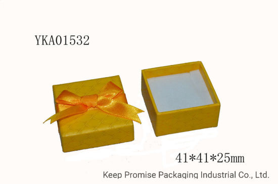 Rigid Butterfly Gift Packaging Yellow Paper Earring Jewelry Box