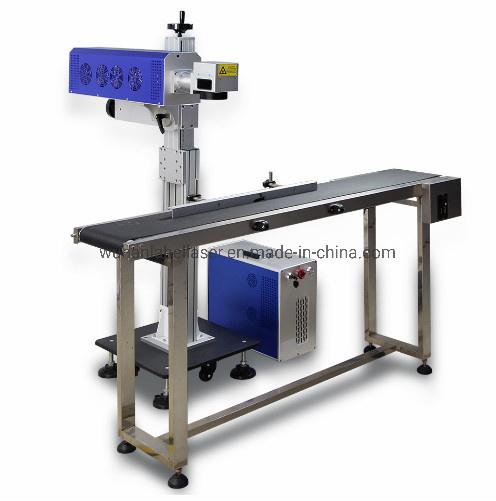 CO2/UV Online Fly Laser Marker Laser Engraving 3D Printing Machine Fiber Laser Marking Machine with Convey Belt for Key Phone Case Cable PCB Plastic Metal