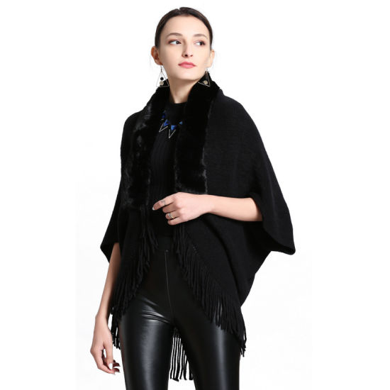 Woman Winter Wool Cashmere Knitted Scarf Shawl Cape and Poncho with Fox Fur