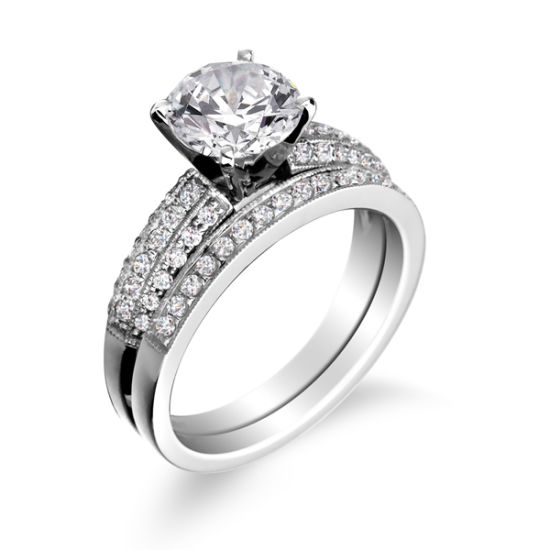 Engagement Ring with Wedding Band in 925 Sterling Silver Jewelry pictures & photos