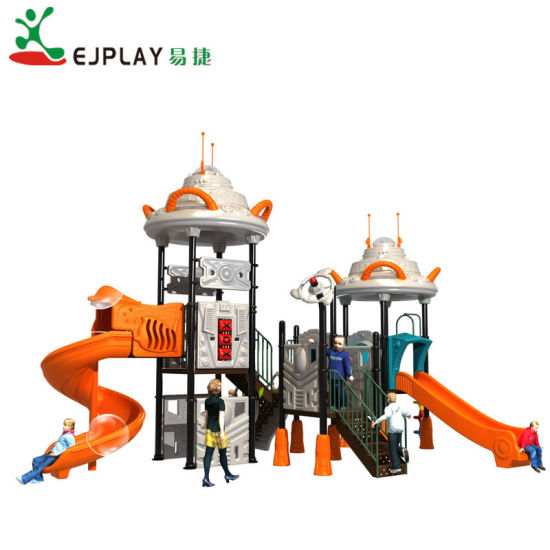 Children UFO Series Large Commercial Outdoor Play Set with Plastic Tunnel Slide