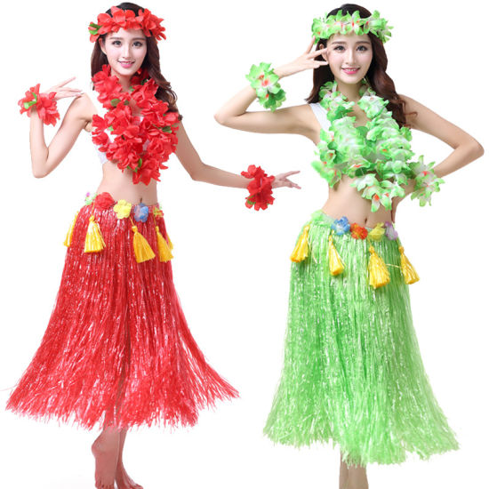 Hawaiian Hula Dance Costume Ballet Performance Cosplay Flower Dress Skirt Garland Children Adults Birthday Tropical Party Events