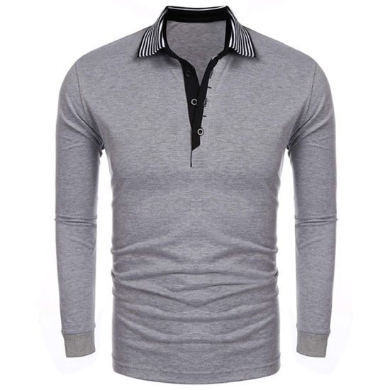 101202d0e Mens Short/Long Sleeve Striped Collar Casual Comfortable Grey Polo Shirt