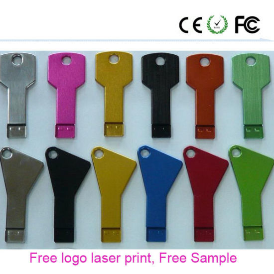 2017 Popular Gift Key Shape Free Laser Print Logo USB Flash Drive (YS) pictures & photos
