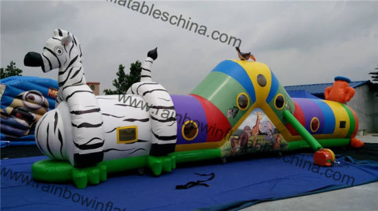 Animal Zoo Long Inflatable Tunnel Obstacle with Slide pictures & photos