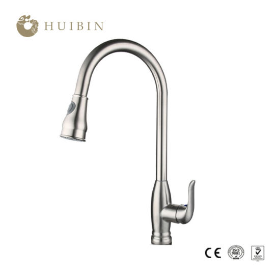 China Good Quality Pre Rinse Swivel Spout Brushed Nickel Pull Out