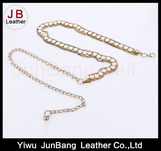 Metal Belt Gold-Tone with Faux Tortoise Links Chain Belt