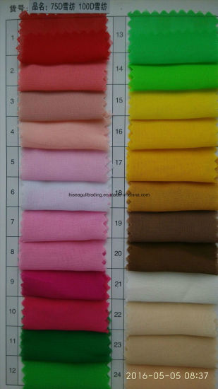 75dx75D Polyester Chiffon Fabric for Skirt, Scarves etc pictures & photos