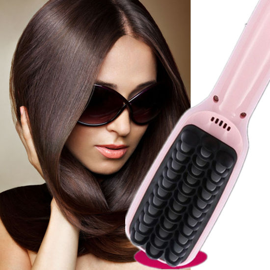 Pink Black LCD Hair Straightener Brush pictures & photos