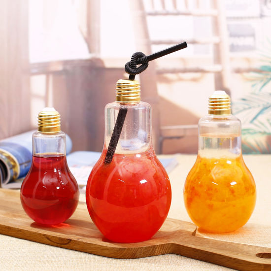 Lightbulb Shape Christmas Gift Glass Water Bottle /Glass Beverage Bottle with Metal Cover pictures & photos
