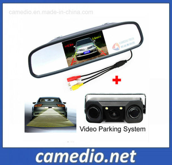 3 In1 Video Parking Sensor Radar with Rear View Camera+4.3inch LCD Rearview Mirror
