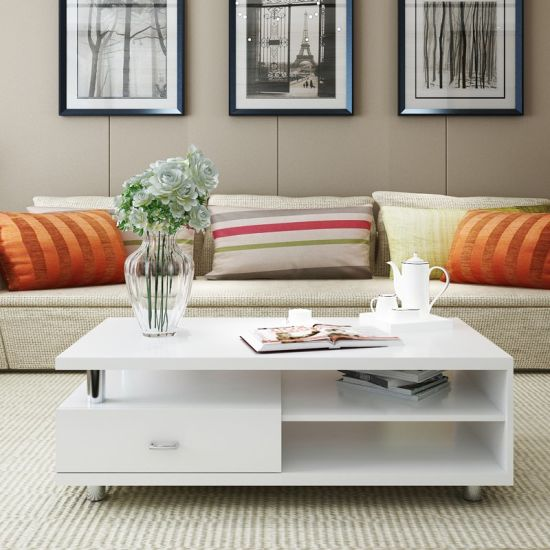Amazing Living Room Furniture Simple Style Wooden Melamine Panel Coffee Table End  Table