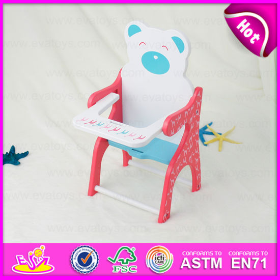 Hot Item 2015 Safe Pinky Wood Baby Doll Chair Toy Baby Doll Feeding Table With Chair Play Set Lovely Doll Chair Accessoires Parts W06b031