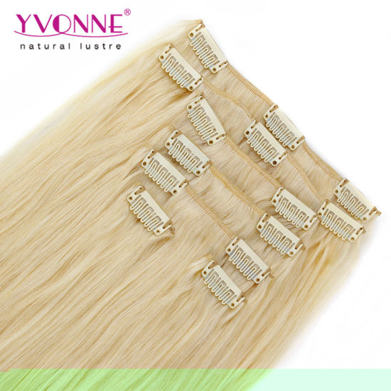 Blond Brazilian Clip in Human Hair Extension pictures & photos
