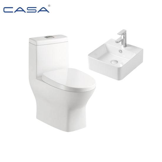 Ceramic Bathroom One Piece Chinese Wash Basin Toilet Set