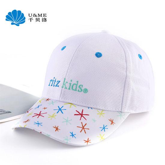 Fashion Cotton 6 Panels Baseball Custom White Cap for Kids