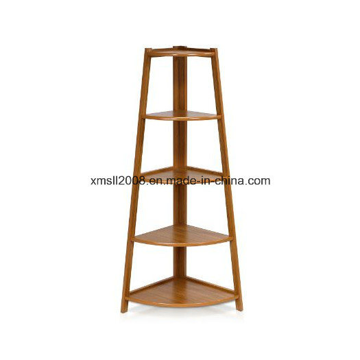 5-Tiers Corner Ladder Wood Display Rack with Ce