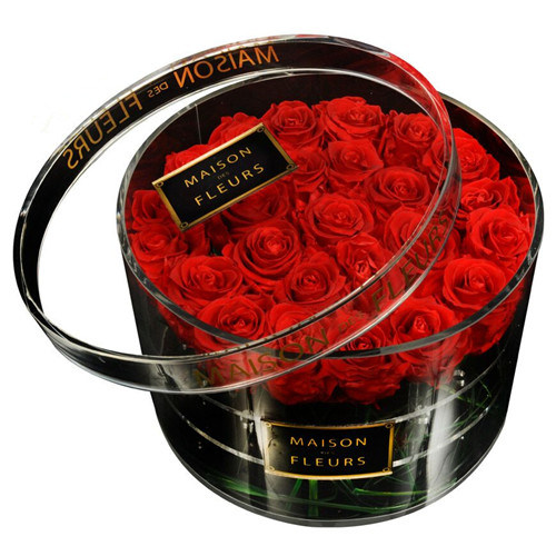 High Quality Clear/White/Black Acrylic Rose Box Acrylic Square/ Round Flower Box for Display