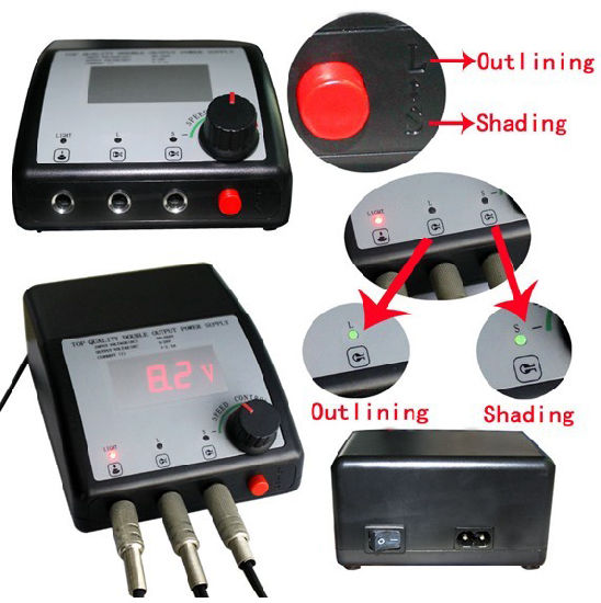 China Cheap Lcd Display Dual Output Tattoo Machine Power Supply