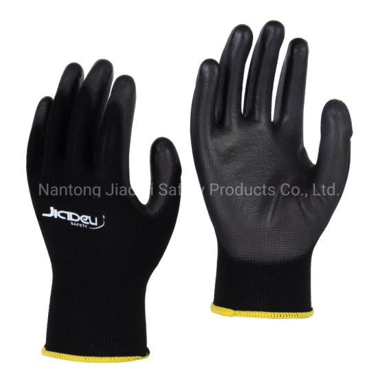 13G Black Polyester Knitted Glove with Black PU Palm Coating