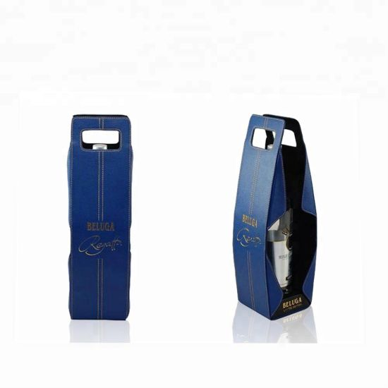 Leather Glass Storage Box, Cardboard Wine Packaging Box Blue pictures & photos