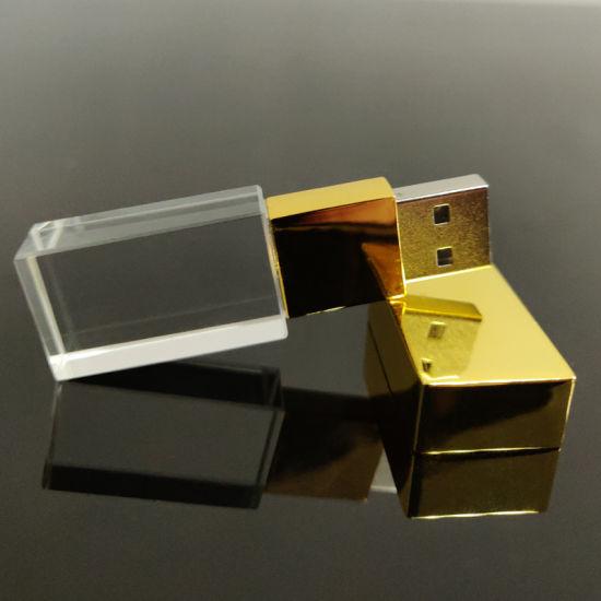 Custom Gold Crystal USB2.0/3.0 4/8/16/32GB Flash Drive USB Stick
