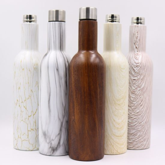 Promotional Outdoor Wooden Stainless Steel Vacuum Flask Thermos Water Bottle