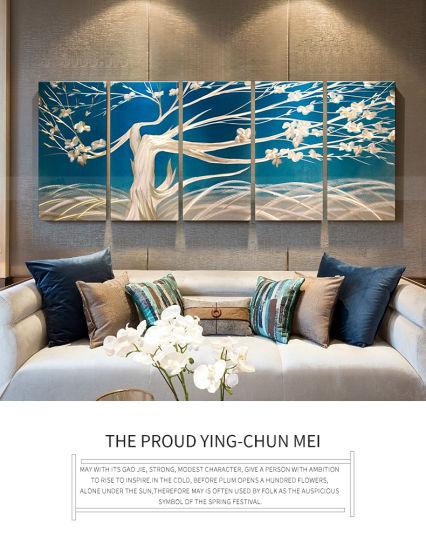 Blue Art Abstract Artwork Wall Art Contemporary Decor on Metal