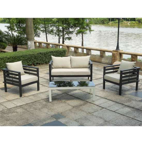 Latest Design Outdoor Garden Python Corner Sofa Set Waterproof Sunproof  Aluminum Lounge Furniture With Tempered Glass Table