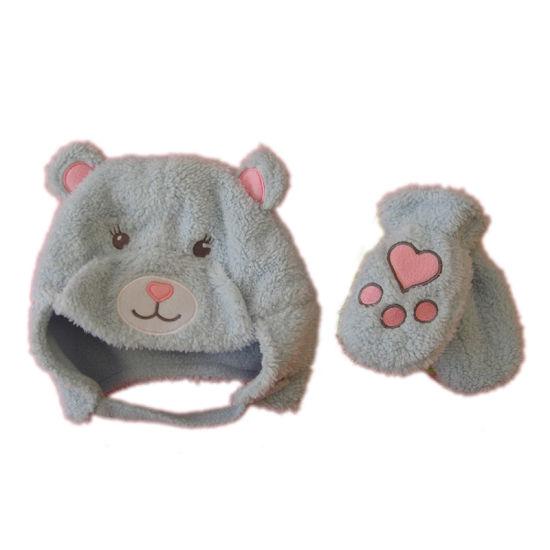 Children Winter Warm Fashion Bear Embroidery Velboa Glove Hat Set