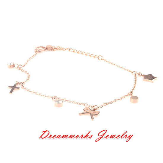 China Wholesale Rose Gold Plated Stainless Steel Charm Jewelry