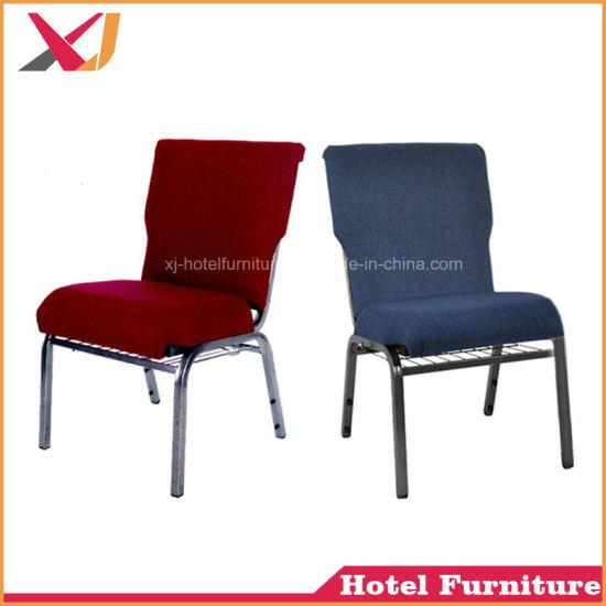 China Hot Sale Steel Blue Church Chair Wedding Banquet Chair China
