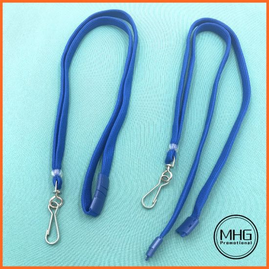 Factory Direct Polyester Royal Blue Flat Lanyards 10mm Wide