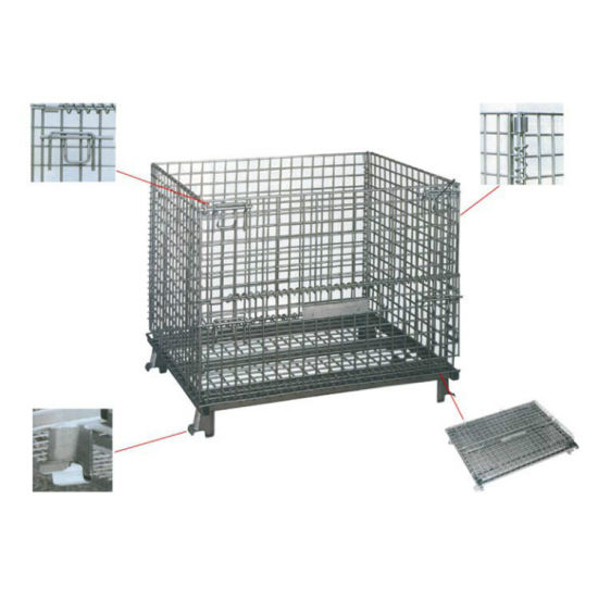 Foldable Stackable Heavy Duty Wire Mesh Cage for Warehouse Storage
