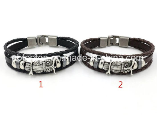 Punk Style Woven Leather Bracelet Stainless Steel Owl Chain Jewelry